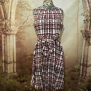 NWOT Elle pink/burgundy criss cross pattern dress